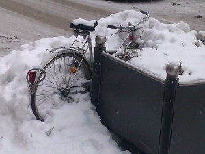 Bike covered in snow in Memmingen