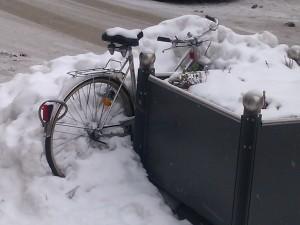 Bike covered in snow in Memmingen