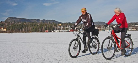 Cycling on a Norway fiord in late winter - Credit Morten Kerr