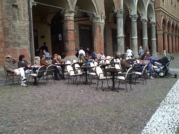 Cafe in Bologna after earthquake
