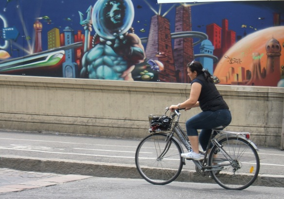 Bologna Cyclist and graffiti