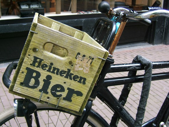 Heineken box on Amsterdam bike