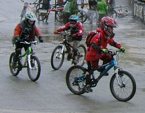 Young cyclists at bike park
