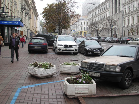 pavement parking central Kiev Ukraine