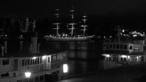 Boat seen just before dawn, Stockholm, Sweden