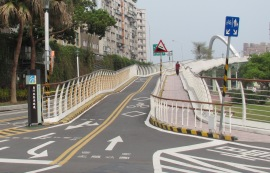 Cyclists bridge taipei Riverside