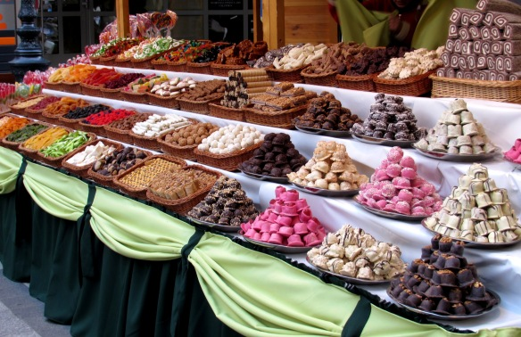 Market stal with sweets central Budapest Hungary