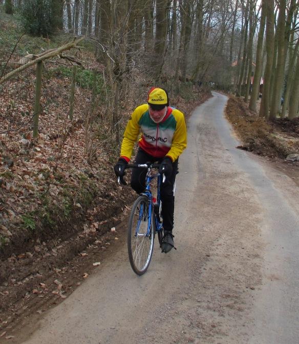 Geoff climbing Flemish Ardennes