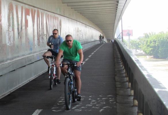 Bratislava Cyclists danube bridge