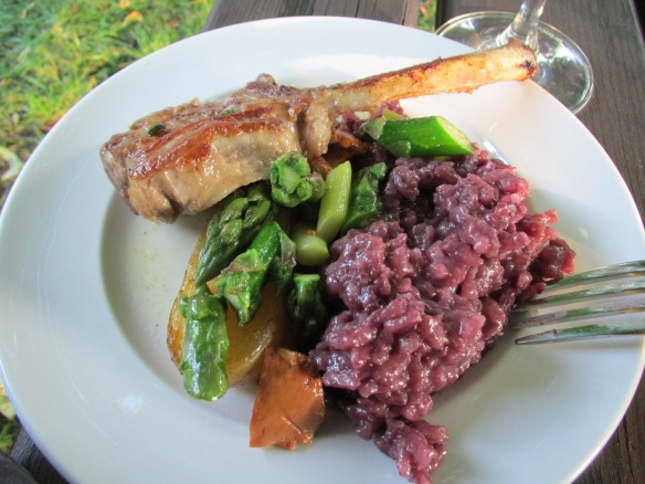 Lamb cutlet and red wine risotto