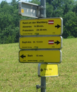 Cycling route signs Salzkammergut Upper Austria mountain biking