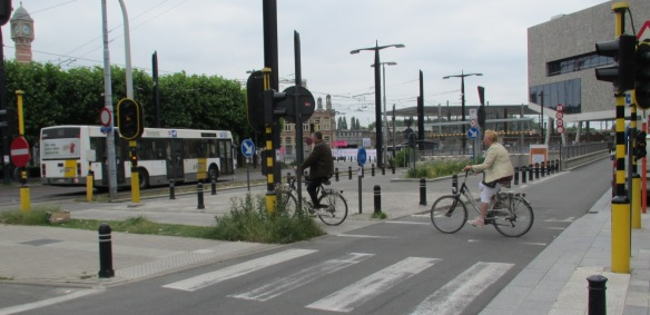 Cyclists Crossing near Ghent station
