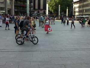 Cyclists Domplatz Koln Cologne