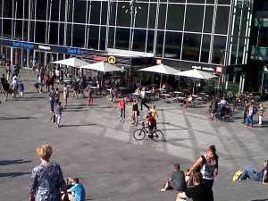 Domplatz cyclist and pedestrians