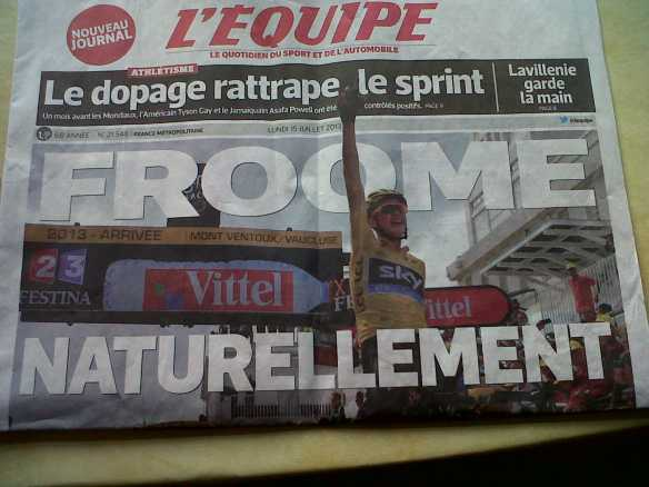 L'Equipe headline page Froome