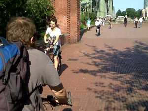 Shared use bridge over Rhine Cologne
