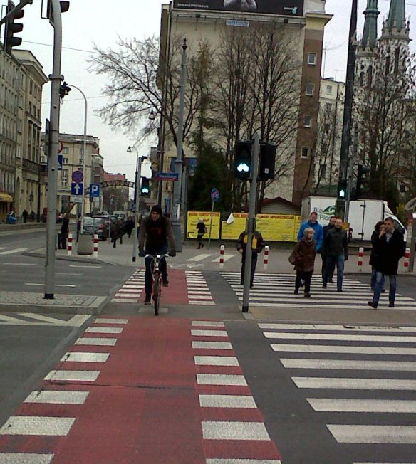 Cyclist crossing Warsaw