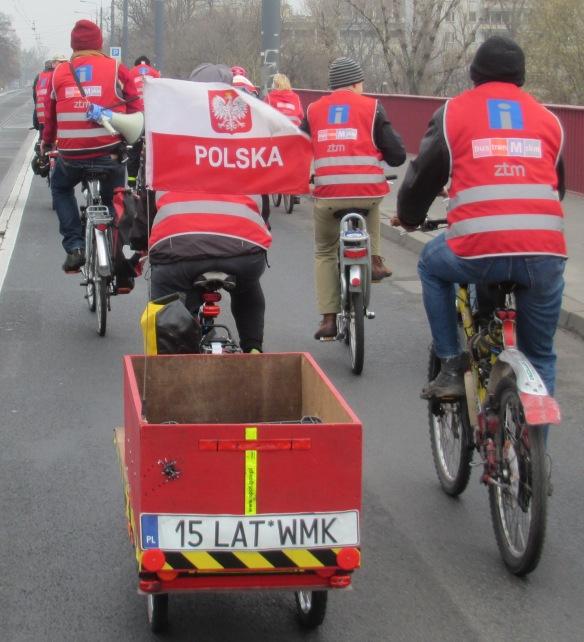 Poland flag and cargo Bike Climate Ride