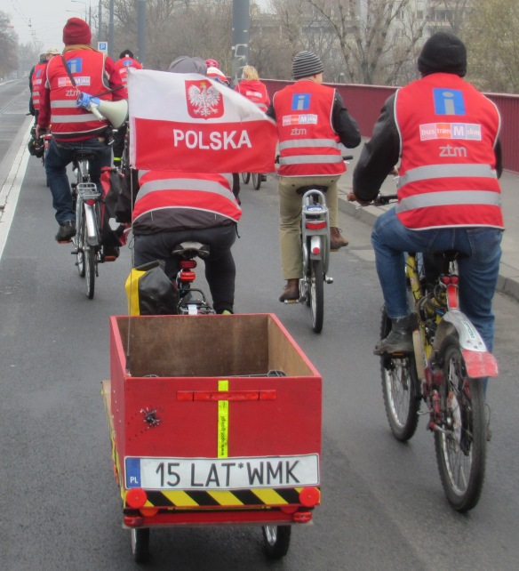 Poland flag and cargo Bike Climate Ride