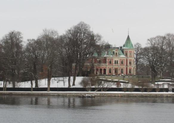 Djurgarden house in snow Stockholm