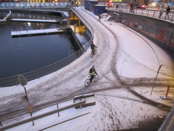 Slussen cycle paths in Stockholm