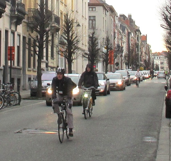 Brussels cyclists in congestion