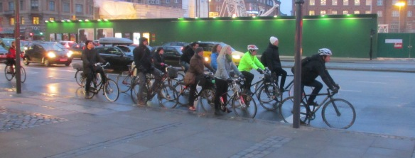 Cyclists queue Copenhagen