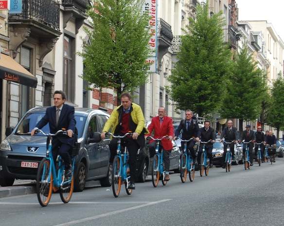 Blue bike convoy in Brussels