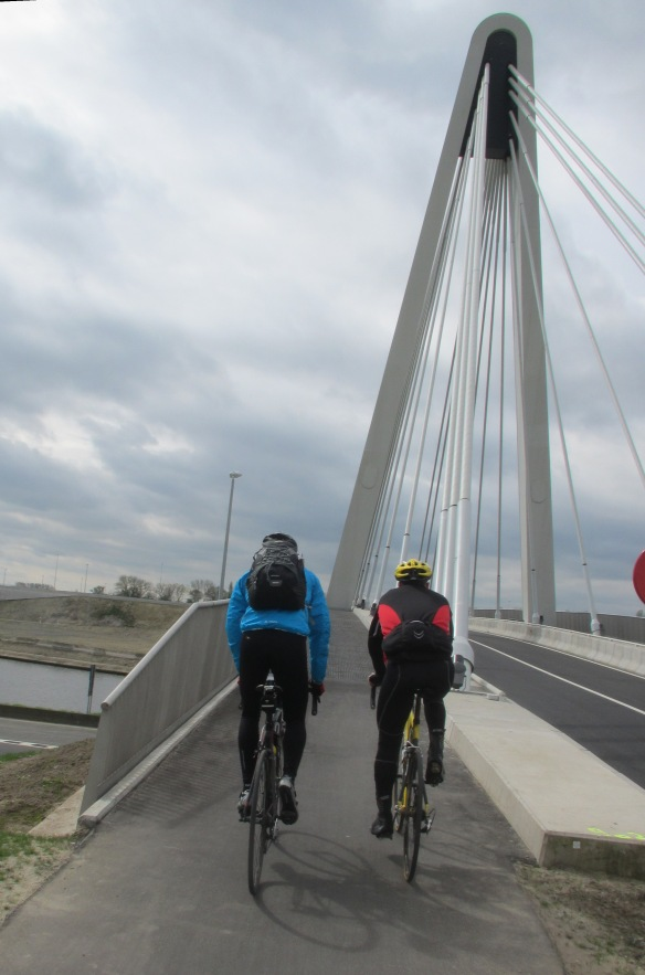 Cyclists Suspension bridge Ghent