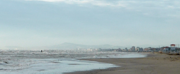Rimini beach early morning Italy