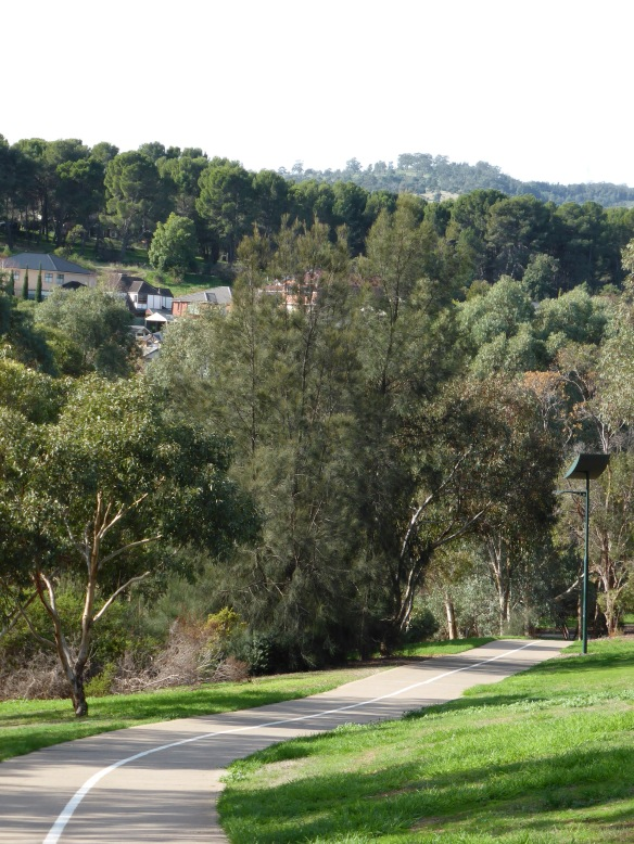 Approaching the Adelaide Hills on Torrens Linear park