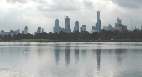 Melbourne skyline over Albert park Lake
