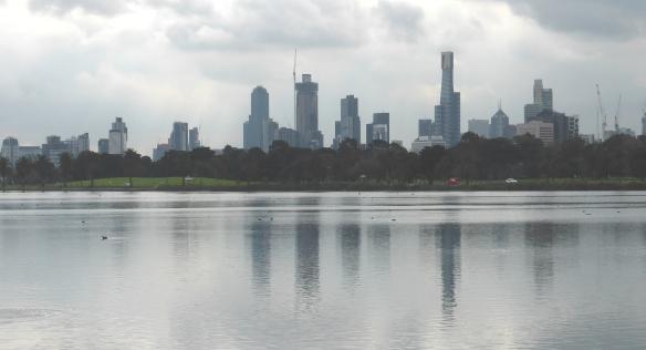 Melbourne skyline over Albert park Lake