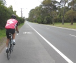 Cyclist on Mona Vale Road Sydney