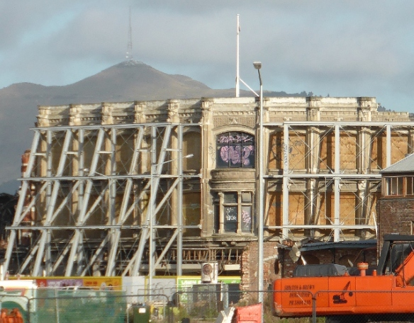 Earthquake Damaged facade Christchurch New Zealand