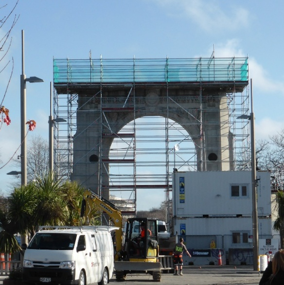Earthquake Damaged monument Christchurch New Zealand