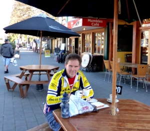 in the cafe after Hanmer Springs mountain biking