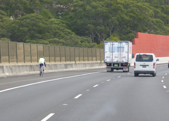 M2 freeway cyclist Sydney