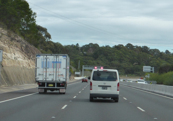 M2 freeway Sydney with cyclist