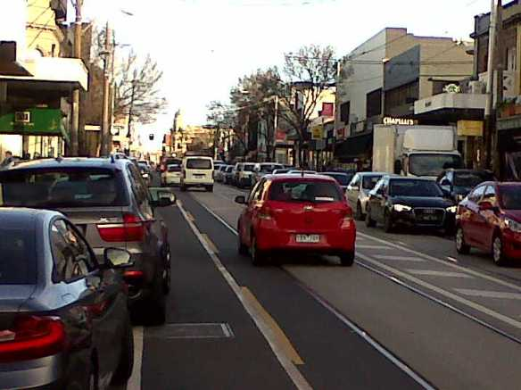 Melbourne cycle lane - dooring lane on Chapel Street