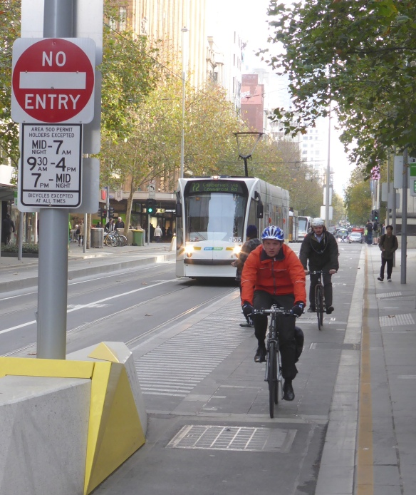 Partly protected cycle lane in Melbourne