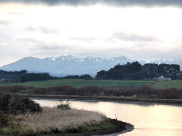 Southern Alps from the Oreti River Invercargill