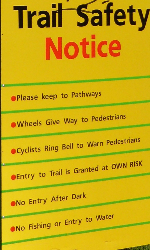 Trail safety notice Williamstown