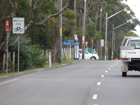 Watch for cyclists sign Mona Vale Road Sydney