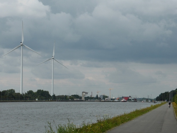 Albertkanaal and wind turbines Hassalt Belgium