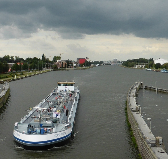 Barge on the Albertkanaal Hassalt Flanders