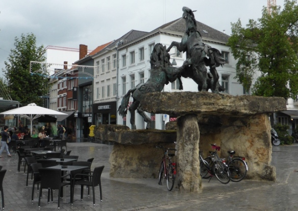 Horse statues and bike parking Hassalt Belgium