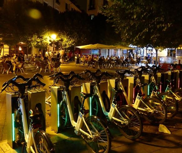 BiciMad at night bike share Madrid