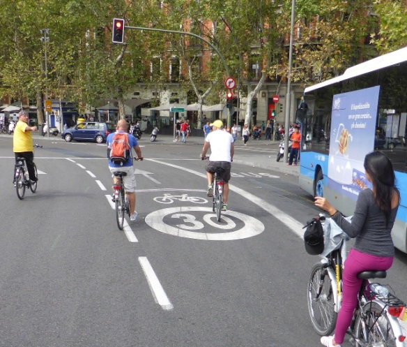 Bike lane on Calle de Alcala Madrid