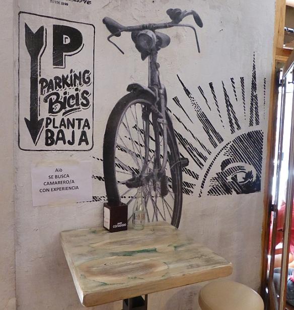 Cafe interior bike mural Madrid